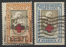 ESTONIA 1921 RED CROSS PERF / IMPERF PAIR USED