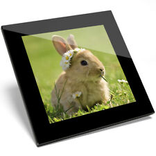 1 x Cool Baby Bunny Rabbit Flowers Glass Coaster - Kitchen Student Gift #15575
