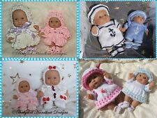 "*4* Babydoll Handknit Designs Knitting Patterns Cbc2 for 8 & 10"" Berenguer Dolls"