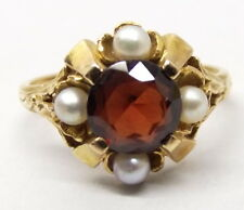 Vtg 14K Gold Garnet Cultured Pearl Ring Sz 7.25 Estate January Birthstone Ornate