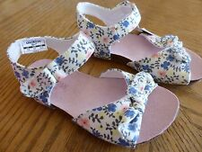 NEW size 6 Toddler Sandals White Flower Blue Peach Cloth NWT easy on & off