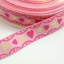 2 Metres - 16mm wide Heart Frill Ribbon, Valentine, Love Trim