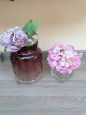 Beautiful Faux Flower Duo Pink & Purple Colours Crackle Glass display only