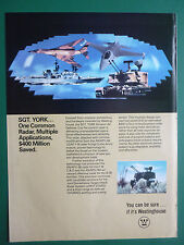 3/1984 PUB WESTINGHOUSE SGT YORK AIR DEFENCE GUN FIRE CONTROL RADAR ORIGINAL AD