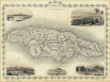 A Map of Jamaica - enlarged reproduction of a Tallis original dated 1851