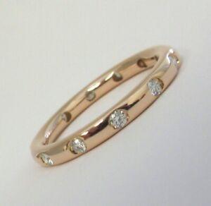 TIFFANY & Co. 18K Rose Gold .18ct Diamond Bezet Band Ring 6