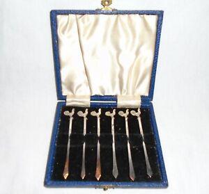 Cased Silver Cockerel Cocktail Sticks, C W Fletcher & Son Ltd, Sheffield