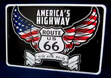 AMERICA'S HWY ROUTE 66 - *US MADE* Embossed Metal Tin Sign - Man Cave Garage Bar
