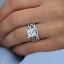3 ct Princess & Round Diamond Engagement Wedding Ring Set 14k White Gold