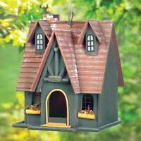Tall Roof Wood Cottage Bird House Fairy Garden Lawn Yard Art Folk Art Birdhouse