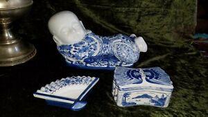 Chinese Export Porcelain Pillow Boy Head Rest 3 pc Smoking Set Bat Design