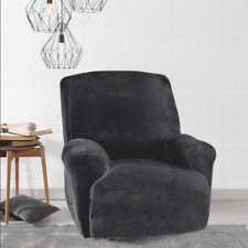 SURE FIT Stretch Plush 1-Piece Recliner Slipcover - Black (SF40908) NEW