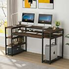 Rustic Brown Computer Working Desk with Monitor Stand Riser and Storage Shelves
