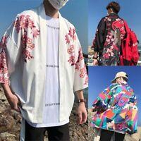 Men Kimono Cardigan Japanese Noragi Jacket Yukata Coat Ukiyoe Baggy Tops Vintage