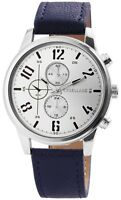 Excellanc Herrenuhr Silber Blau Chrono-Look Analog Metall Leder X2900049003