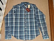 ABERCROMBIE & FITCH NEW MEN'S SMALL LONG SLEEVE BLUE WHITE CHECKED MUSCLE SHIRT