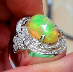 Natural Fire Opal White Topaz Gemstone 14K White Gold Men's Ring SR958