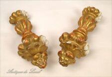 Paire Eléments de décoration en bois doré Embrases rideaux 19e