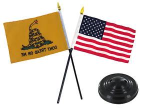 "Gadsden Yellow Snake Don't Tread on Me w/ USA Flag 4""x6"" Desk Set Black Base"
