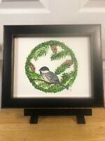 *8X10 *HAND PAINTED BEAUTIFUL* Greenery wreath*With bird*Pinecones*Watercolor*