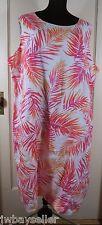J Jill Linen Sleeveless Tunic Shift Dress White Orange Pink Palm Leaves Plus 22W