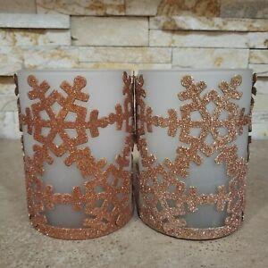 2 Snowflake Glass Votive Tealight Candle Holders Metal Base Gold Brass Glitter