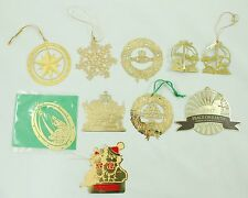 Vintage Gold Brass Wreath Round Christmas Ornament Holiday Decoration Lot