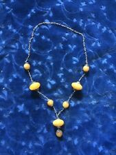 VINTAGE MOROCCAN BERBER GOLD COPAL AMBER 8 BEAD NECKLACE