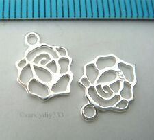4x STERLING SILVER BRIGHT DANGLE ROSE FLOWER CHARM PENDANT 9.5mm x 10.4mm #2578
