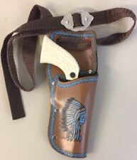 Cap Gun & Holster Indian Chief Stag Grip Working Action Clean Replica