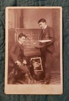 Cabinet Card- Two Boys Around the Piano Looking at Music. Beautiful Card!!!