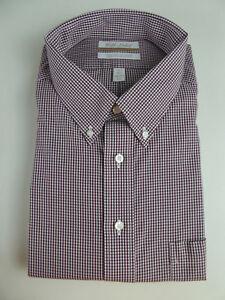 Roundtree & Yorke Gold Label Non Iron EZ Wash Gingham Plaid Dress Shirt NWT $75