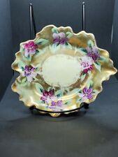 Vintage Hand Painted Porcelain Trinket Dish, Purple Flowers Violets Unsigned