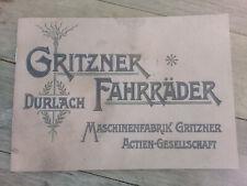 Gritzner Fahrradkatalog ca. 1912 Nachdruck reprint copie catalogue vélo ancien