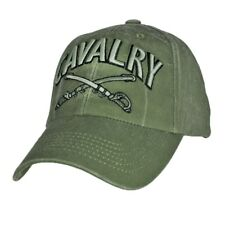 US ARMY CAVALRY EMBROIDERED HAT CAP STONE WASHED OD GREEN CROSSED SABERS SWORDS