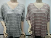 New with Tag Calvin Klein Women's V-Neck Stripe Short Sleeve Tee Knitted T-Shirt