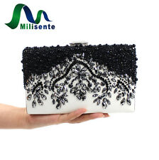 MILISENTE Women Evening Bag Black Noble Vintage Mini Beaded Clutch Purse Handbag
