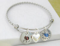 Personalised Twisted Bangle Bracelet 2 Name Discs, Heart Charm & Birthstones