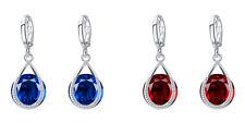 Dark Red or Sapphire Blue Cubic Zircon Teardrop Silver Earrings Women Party