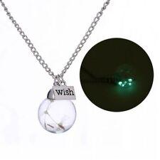 Creative Handmade Jewelry Bottle Necklace Glass Luminous Real Dandelion Seeds