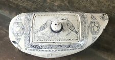Antique Faux Scrimshaw ~ Carved Keepsake Box with Bird Etching ~ 5""
