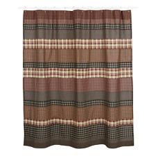 BECKHAM Shower Curtain Bath Plaid Rustic Primitive Lodge Log Cabin VHC Brands