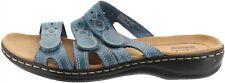 Clarks Bendables Leisa Cacti Leather Triple Strap Slides Blue 5.5M # A251816