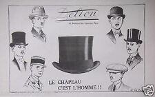 PUBLICITÉ 1919 DELION LE CHAPEAU C'EST L'HOMME - ADVERTISING