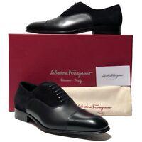 Ferragamo NIB Black Cap-Toe Leather Suede Oxford Men's Derby Dress Shoes Casual