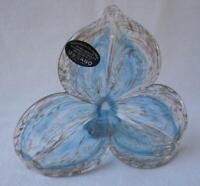 Genuine Italian Art Blown Glass Flower Murano Gold Blue Made in Italy No 168