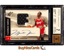 2004-05 Michael Jordan UD SPx Flashback Fabrics Game Used SP Patch Auto BGS 7