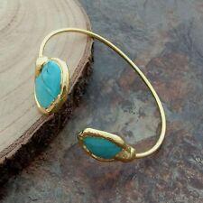 Blue Turquoise 24 K Gold Plated Bangle Bracelet