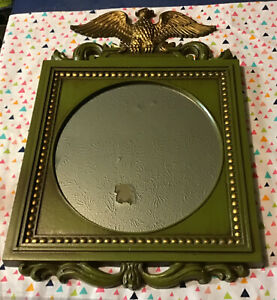 Vintage Sexton USA 1969 599-28 Metal Mirror W/Eagle 13x19 Avocado Green & Gold