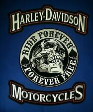 Harley Davidson Rocker patches W/ 9'' round  ''RIDE FOREVER'' + Free Bonus Patch
